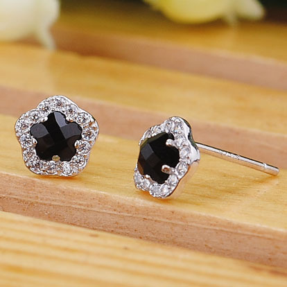 925 sterling silver stud earrings rose shaped Black Onyx Earrings Natural semi-precious stones dinner party gift girlfriend