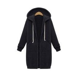 Winter Long Coat Women 2019 Fashion Hooded Solid Color Plus Velvet Sweater Jacket Slim Fit Laides Sports Zipper Jackets AN1112 2