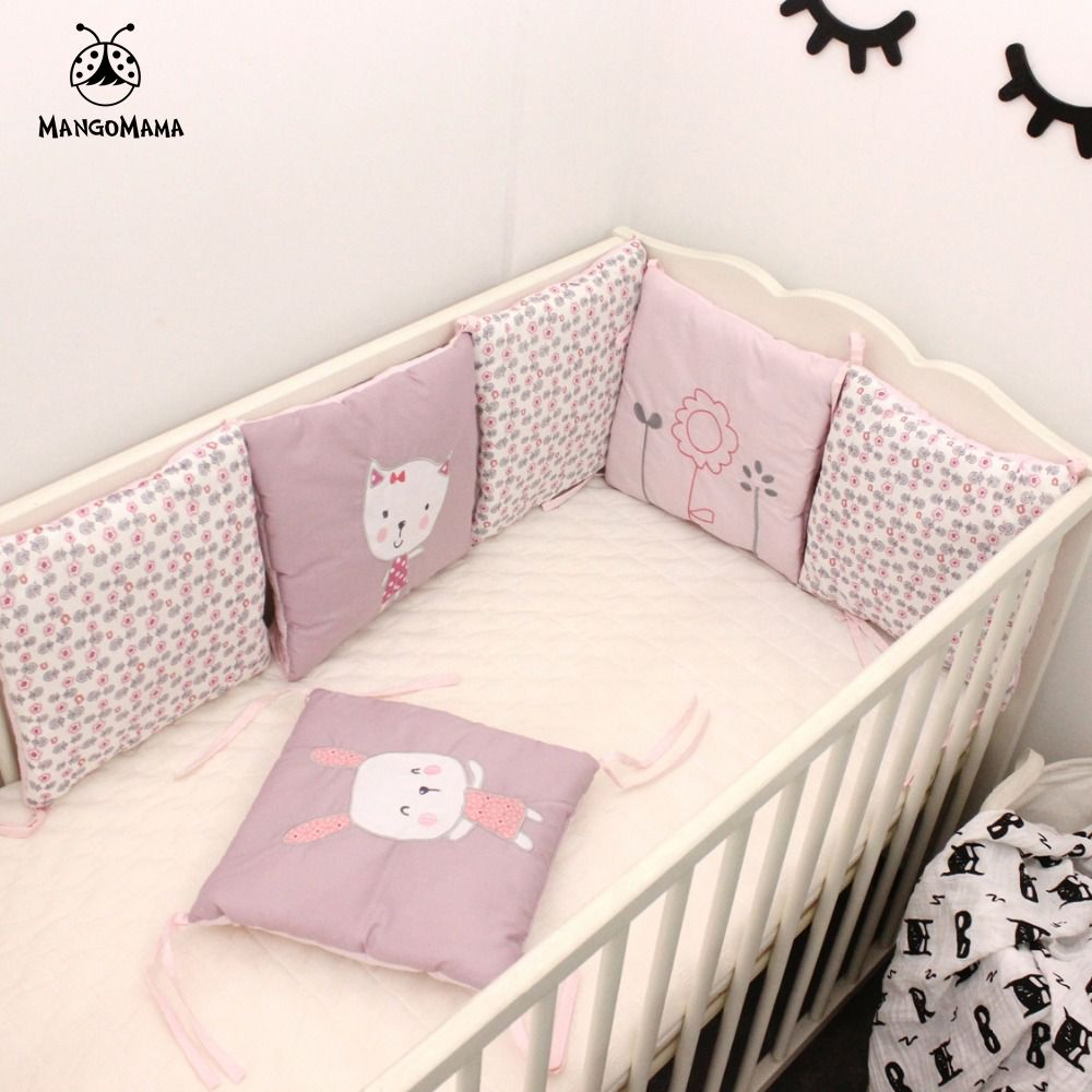 Baby bed sheet pattern - 6pcs A Set Baby Bed Bumper Crib Bedding Set Baby Bed Linen Rabbit And Flowers Pattern