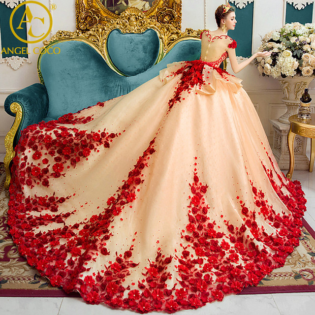 Buy luxury wedding dress 2017 dubai for Where to buy red wedding dress