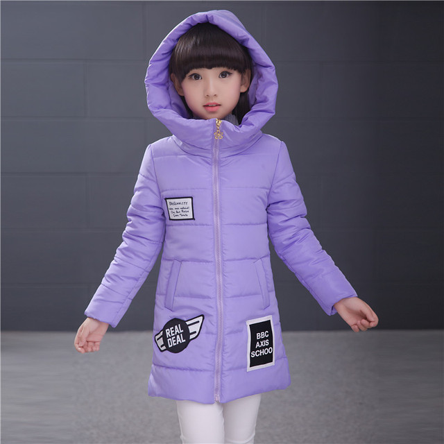 2016 Fashion Girls Down Coat New Brand Style Solid Hooded Winter Children Warm Jackets Casual Long Sleeves Kids Clothes Outwears