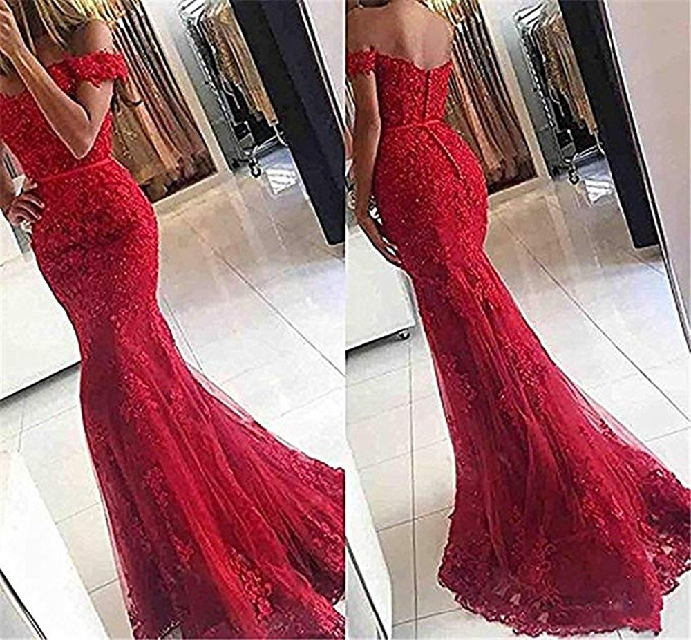 2019 Sexy Beading Mermaid Long   Prom     Dresses   Elegant Lace Appliques Backless   Prom   Gowns Off The Shoulder Evening Party   Dresses