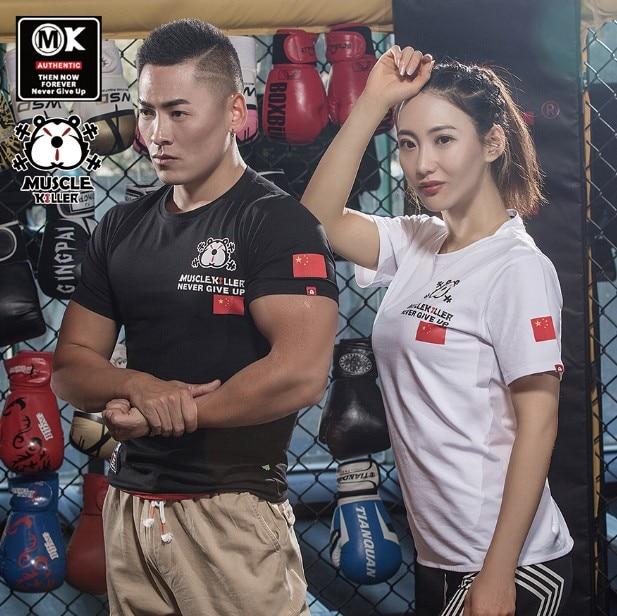 Muscle Killer Fitness T-shirt Blood Patriotic T New Flag Sports Short Sleeve Men Popular Logo Slimming Summer Training