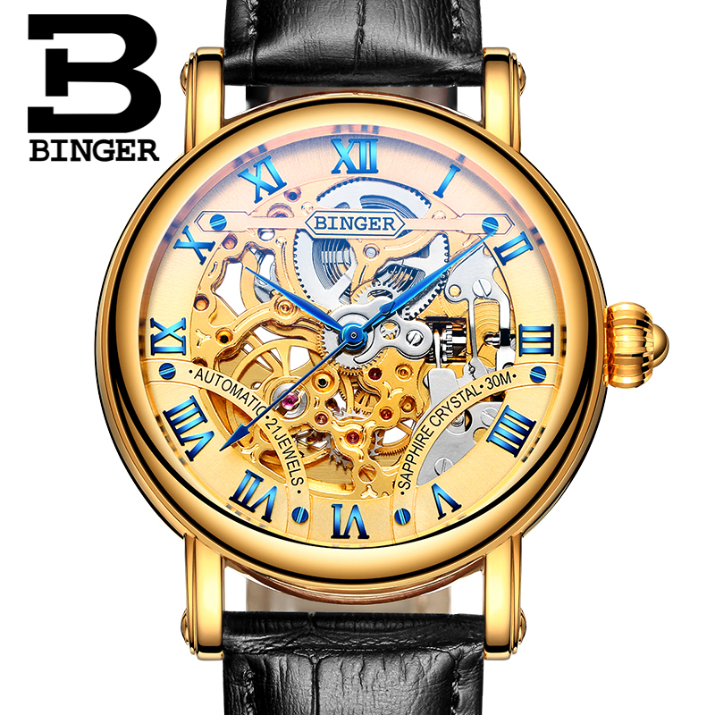 2017 New Gold Watches Top Luxury Brand Men' Sports Automatic Skeleton Man Mechanical  Classic relogio masculino Leather