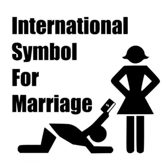 152cm14cm International Symbol For Marriage Car Decal Funny Bumper