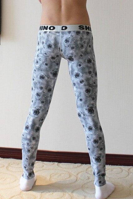 Hot Sale Men Thermo Pajama Bottom Rose Printed Man Lounge Sleeping Pants Fashion Bulge Pouch Wide Waist Band Long John