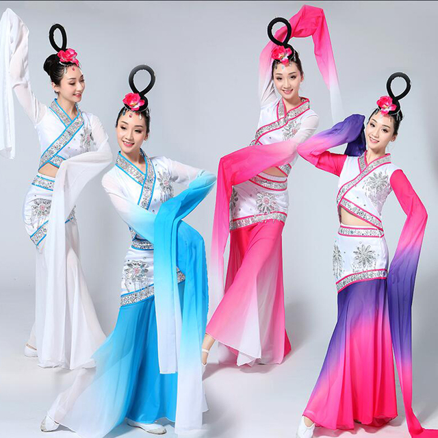 Girls costume Chinese Traditional Long Sleeve Clothes Women Chinese Water Sleeve Yangko Dance Folk Costumes Dancing Outfits Suit