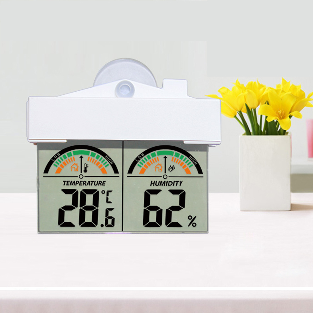 LCD Digital Indoor Outdoor Window Weather Station Thermometer Hydrometer Suction Cup Kitchen Thermometers Instruments