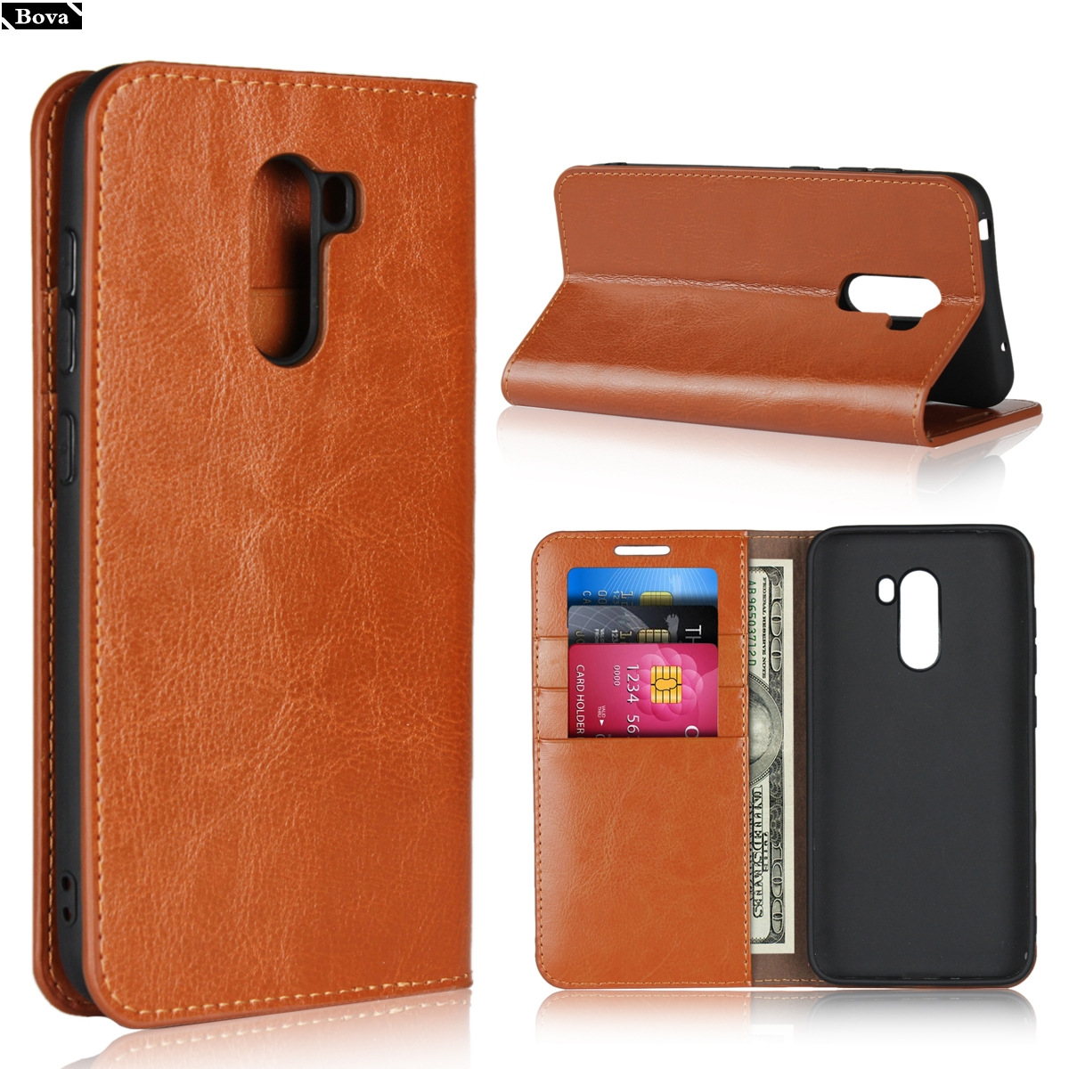 "Deluxe Wallet Case for Xiaomi Pocophone F1 premium leather Case Flip Cover Case for Xiaomi Poco F1 (6.18"") retro phone bags"