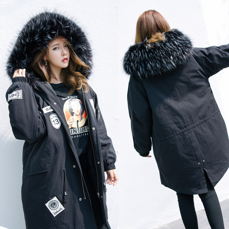 2017 New Winter Fashion Loose Large Fur Collar Cotton-padded Coat Thick Women Outwear 13 W Letter Female Wadded Jacket Parkas created x8s 8 ips octa core android 4 4 tablet pc w 1gb ram 16gb rom dual sim wi fi golden