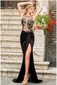 Año nuevo 2016 sexy Negro longitud del Piso del vestido de noche vestidos ahueca hacia Fuera el Vestido de Encaje Bordado de Malla Wrap Maxi vestido LC6839 noite