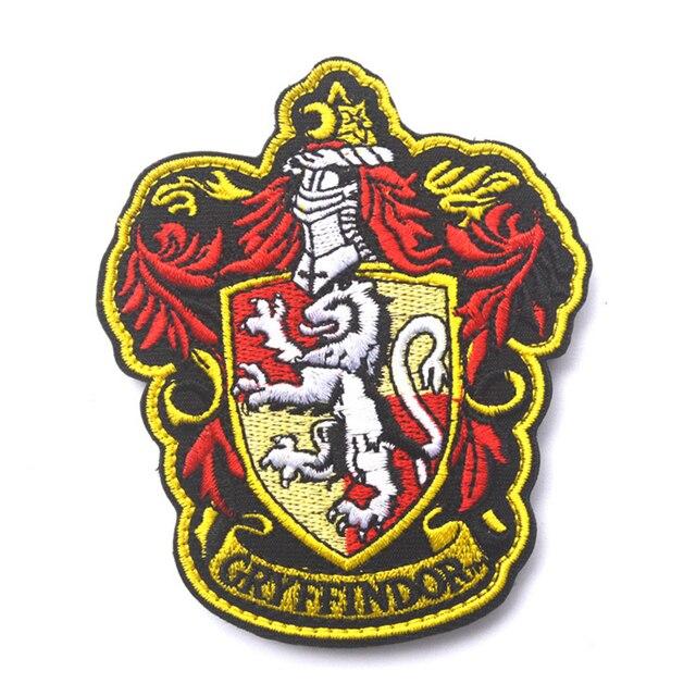 Гарри Поттер Дом Гриффиндор крест Логотип Большой Вышитые Патч 10*8.6 СМ Моральный Дух Армии Тактический Военный Знак Патчи значки