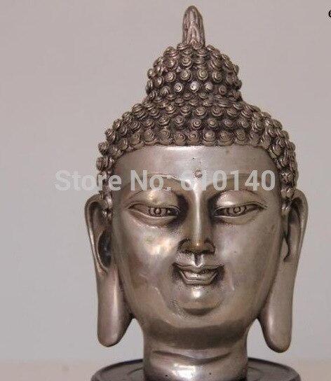 free shipping Tibet Buddhism Temple White Copper Silver Tathagata Sakyamuni Buddha Head Statue china buddhism fane brass copper prajna paramita kwan yin guan yin buddha statue