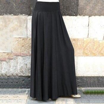 Fashion Women's skirt skirts womens jupe femme faldas mujer moda Elastic Waist Solid Pleated Vintage A-line Loose Long Skirts Z4 8
