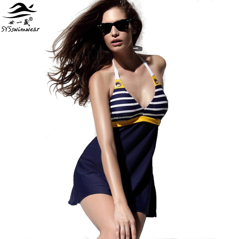 New Sexy Stripe Plus Size Padded Navy Blue Halter Skirt Swimwear Women One Piece Swimsuit Beachwear Bathing Suit Free Shipping women one piece triangle swimsuit cover up sexy v neck strappy swimwear dot dress pleated skirt large size bathing suit 2017