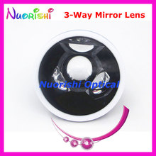 SL13 Ophthalmic Goldman Three 3 Way Mirror Fundus Slit Lamp Contact Lens Black Leather Metal Case Packed Free Shipping
