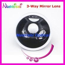 SL13 okulistycznych Goldman trzy 3 Way lustro dna oka lampa szczelinowa na soczewki kontaktowe czarny skórzany metalowa obudowa pakowane darmowa wysyłka