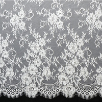 3 Meter Lot Eyelashes Lace Trim Flower Black White Lace Fabric Handmade Diy Clothes Accessories 150cm