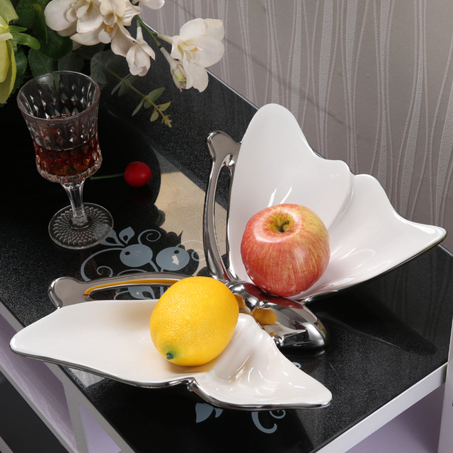 Unique Ceramics Butterfly Figurine Fruits Plate Decorative Household Porcelain Serving Tray Tableware Ornament Gift and Craft & Unique Ceramics Butterfly Figurine Fruits Plate Decorative Household ...