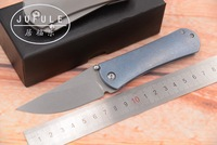 JUFULE 2018 original Dinosaur Titanium handle ball bearing D2 blade camping hunting knives EDC tool folding kitchen knife