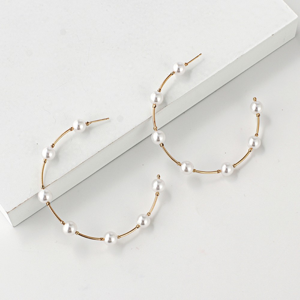 HTB1n3rXU7zoK1RjSZFlq6yi4VXal - New Boho White Imitation Pearl Round Circle Hoop Earrings Women Gold Color Big Earings Korean Jewelry Brincos Statement Earrings