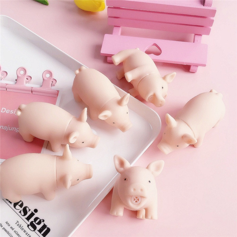 1PC Pink pig cute cartoon soft pig Sound toy rubber retro pig doll sound pig voice toy vent Unzipping toys