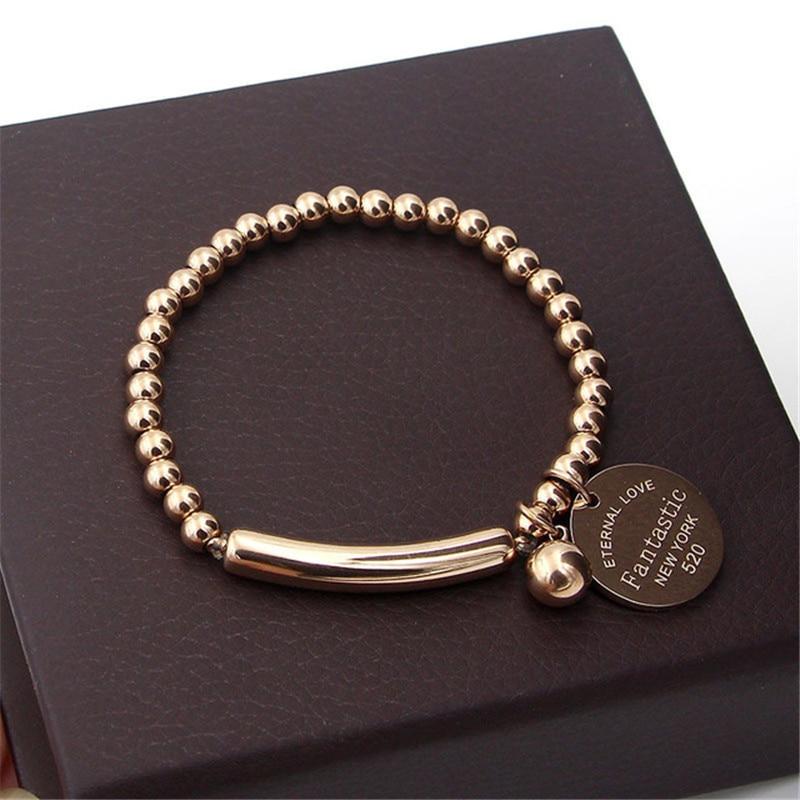 """fantastische Eeuwige Liefde New York"" Rvs Ball Kralen Armband Voor Vrouwen Cirkel Tag Charm Stretch Streng Armband K0001"