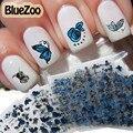 BlueZoo 24 Folhas Flor Borboleta Adesivos de Unhas 3D Arte Do Prego Decalque Decoração DIY Dicas de Beleza Para As Unhas Acessórios de Maquiagem Azul