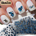 BlueZoo 24 Sheets Flower Butterfly Nail Stickers 3D Nail Art Decal Decoration DIY Beauty Tips For Nails Makeup Accessories Blue