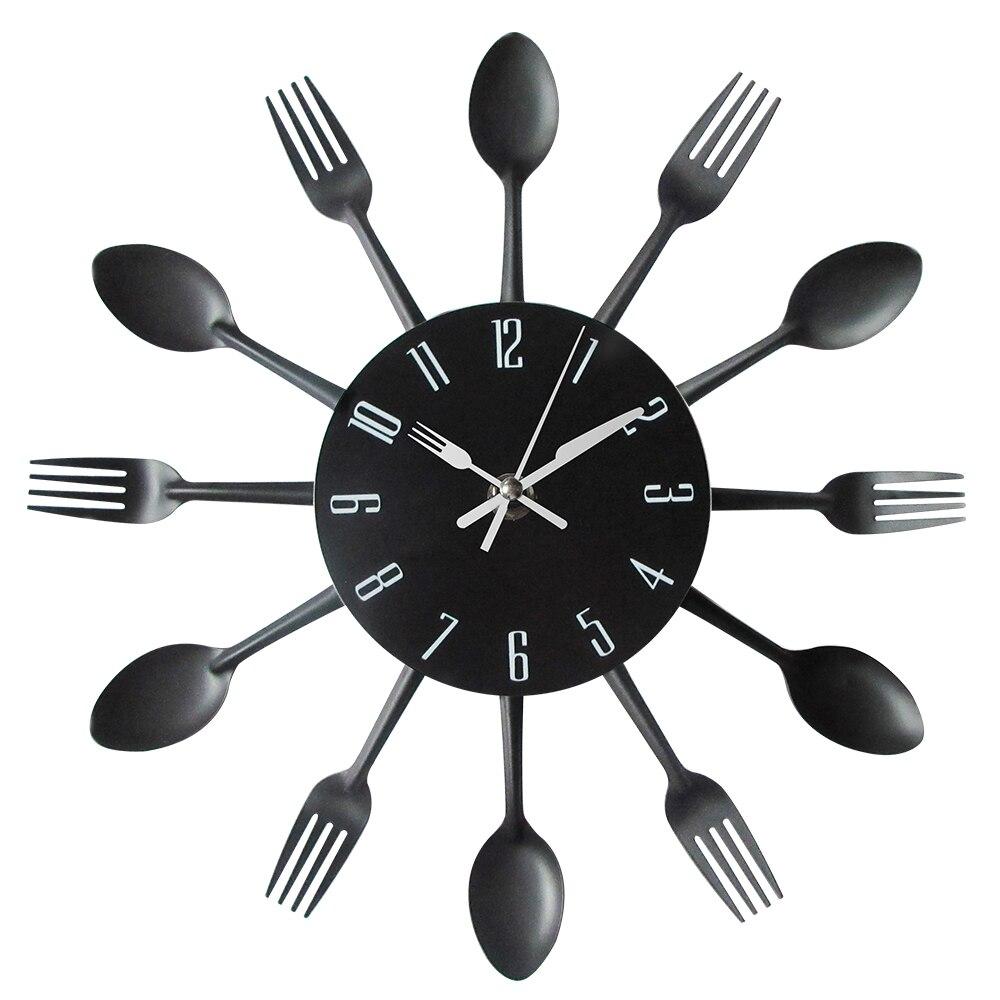 posate in metallo da cucina parete al quarzo orologi moderno orologio da parete cucchiaio forchetta creative
