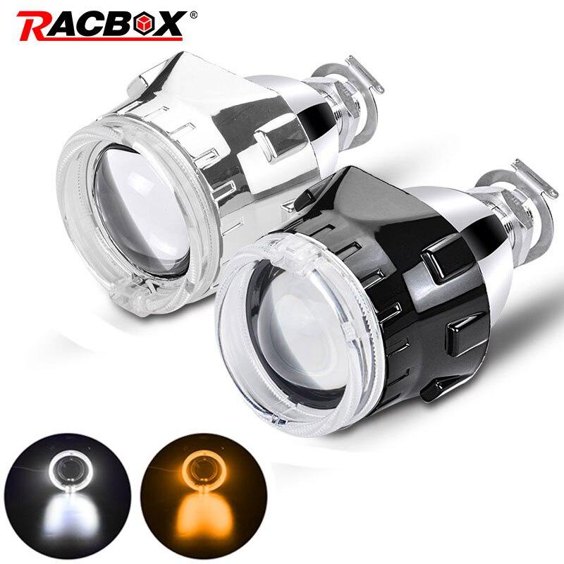 Lentille de projecteur au xénon Bi 2.5 pouces avec masque argenté/noir yeux d'ange Led pour phares à douille H7 H4 utiliser ampoules H1 HID LHD/RHD