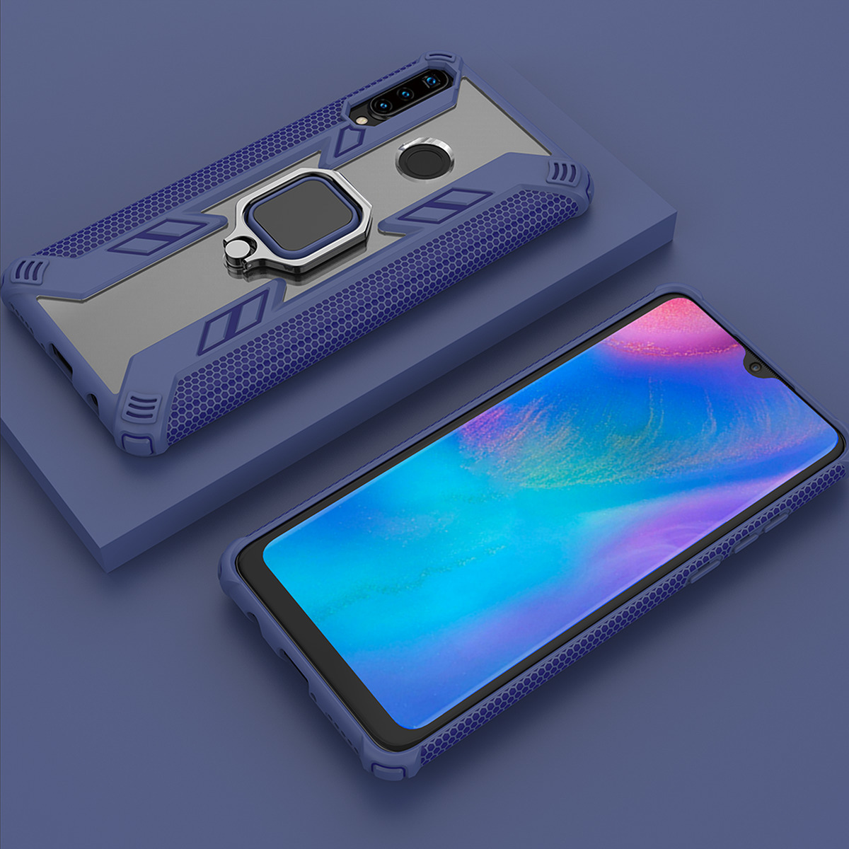 For huawei p30 pro Case Ring Holder Armor Bumper transparent Back Cover For huawei p30 lite Phone Case 360° Finger Ring Fundas in Fitted Cases from Cellphones Telecommunications