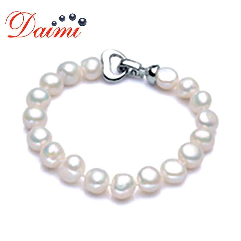 DAIMI Trendy Baroque Pearl Bracelet Natural White Freshwater Pearl White Color, Gift For Women