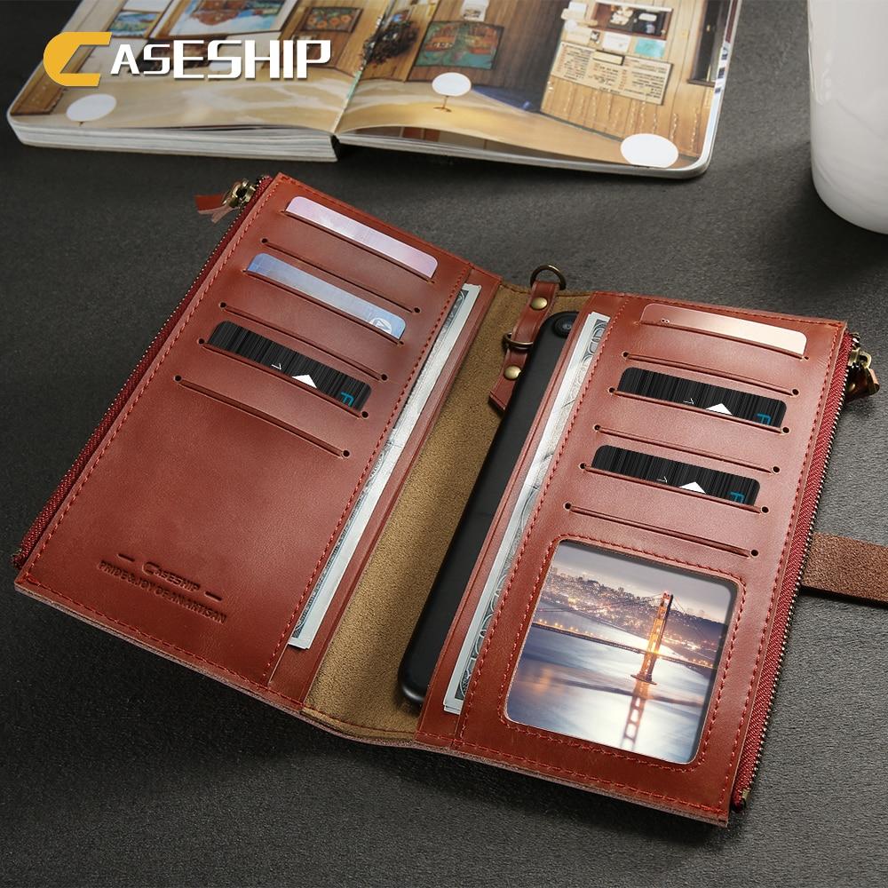 Цена за Caseship Роскошный кожаный чехол для iPhone 6 6S 7 натуральная кожа чехол Мода бумажник телефон Сумки Чехлы для iPhone 7 Plus 6 6S плюс