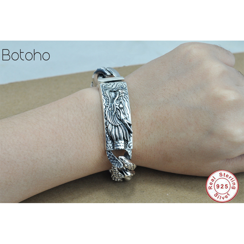 925 Sterling silver mens bracelet Thai silver bracelet domineering Chinese dragon 925 sterling silver vintage chain bracelet men925 Sterling silver mens bracelet Thai silver bracelet domineering Chinese dragon 925 sterling silver vintage chain bracelet men