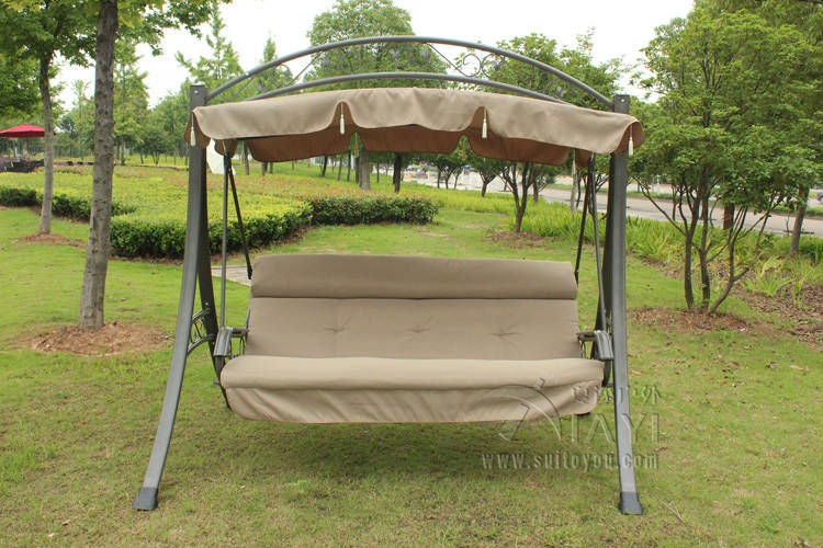 Elegant 3 Person High Quality Deluxe Garden Swing Chair Patio Hammock With Arched  Canopy And Cushion(