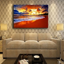 Living Room Wall Art Decor 1 Piece Tropical Nature Pretty Beach Painting Top-Rated Canvas Print Sunset Sea Wave Landscape Pictur