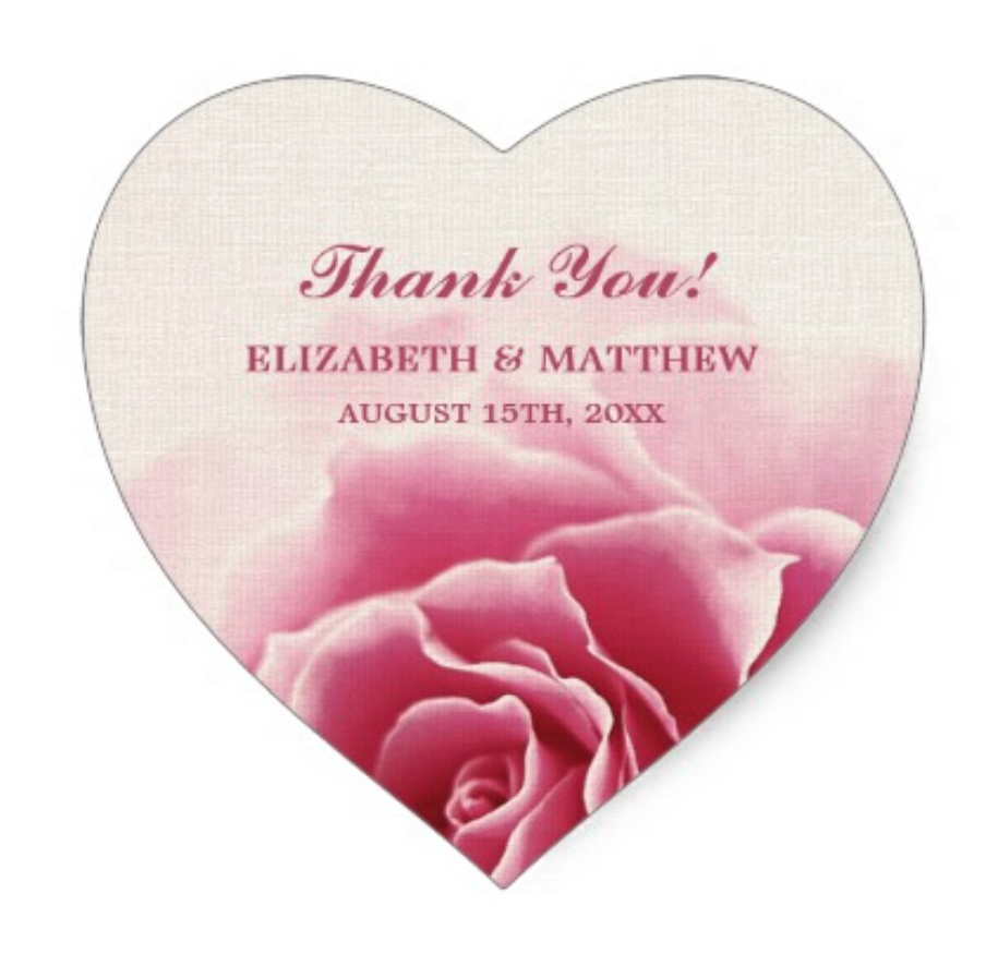 3.8cm Elegant Pink Rose Design Wedding Favor Stickers-in Stickers ...
