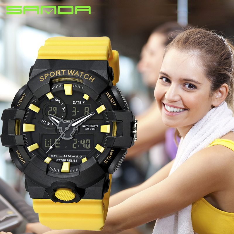 ¡Caliente! SANDA nueva moda mujeres relojes deportivos damas impermeable reloj Digital LED natación buceo mano reloj Montre Femme 2018