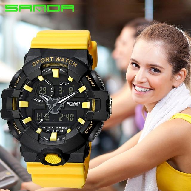 SANDA New Fashion Sport Women Watches Waterproof Ladies LED Digital Watch Women