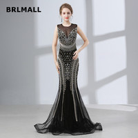2018 Illusion Evening Dresses Black Tulle Crystal Beading Sexy Mermaid Custom Made Cheap Plus Size Formal Prom Gowns