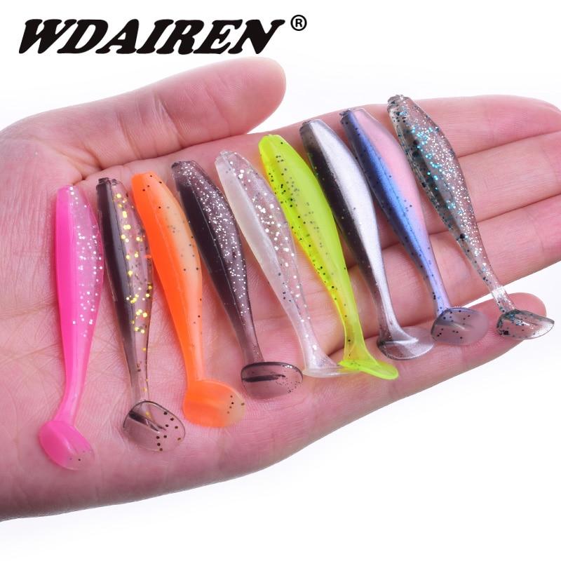 10Pcs/lot Easy Shiner Jigging Wobbler 55mm 75mm Shad Fishing Lure Soft Bait Carp Fishing Paddle Tail T Tail Isca Jerkbait WD-590