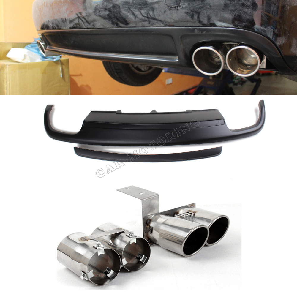 Pu black painted rear bumper diffuser with steel exhaust muffler tip for audi a4 b9 standard