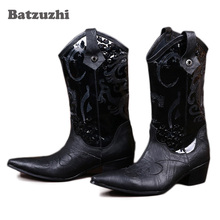 Batzuzhi 2018 Men Mid-Calf Leather Boots 6.5CM Black Men Boots Pointed Toe Increased High Heels Leather Boots  Big Size 38-46 original intention new gorgeous women mid calf boots pointed toe metal thin heels boots black red shoes woman us size 4 10 5