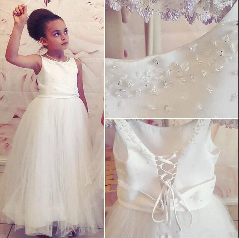 Fabulous Flower Girl Dress with Crystals Beading A-line O-neck Sleeveless Lace Up Back Girls Birthday Party Gowns Custom MadeFabulous Flower Girl Dress with Crystals Beading A-line O-neck Sleeveless Lace Up Back Girls Birthday Party Gowns Custom Made