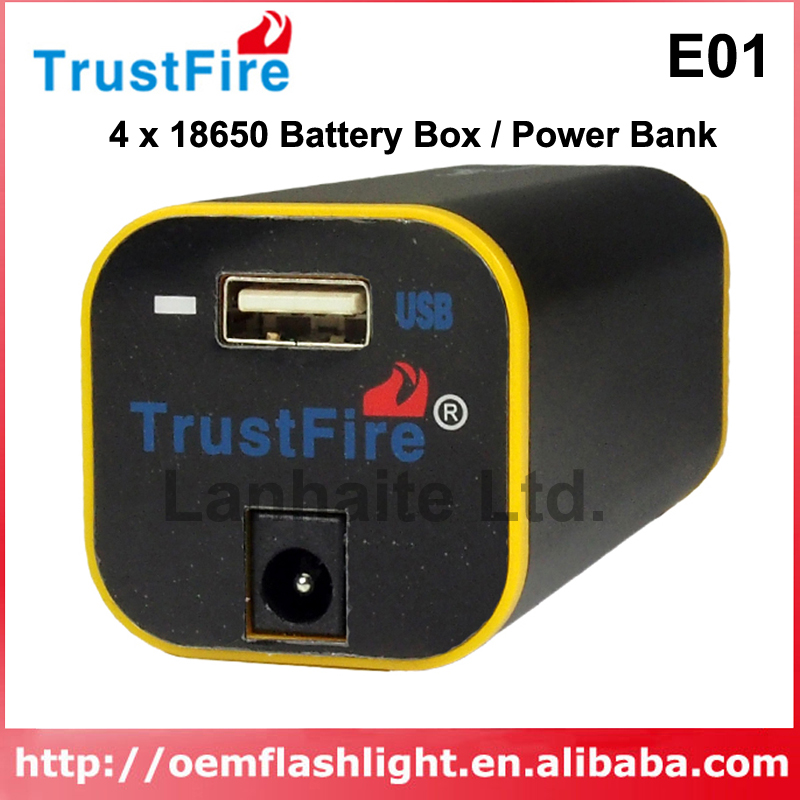 TrustFire E01 Rechargeable Waterproof <font><b>4</b></font> x <font><b>18650</b></font> Battery <font><b>Box</b></font> / Power Bank - Black image