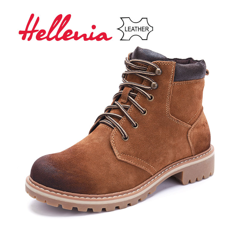 65992490d цена Hellenia high quality genuine cow Suede leather Winter ankle Boots  warm snow shoes Lace-