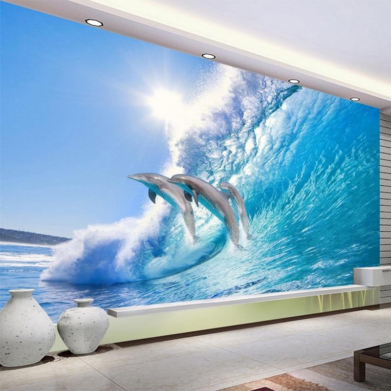 ᐊmodern Criativo Jumping Golfinho 3d Estereo Mural Wallpaper Hd