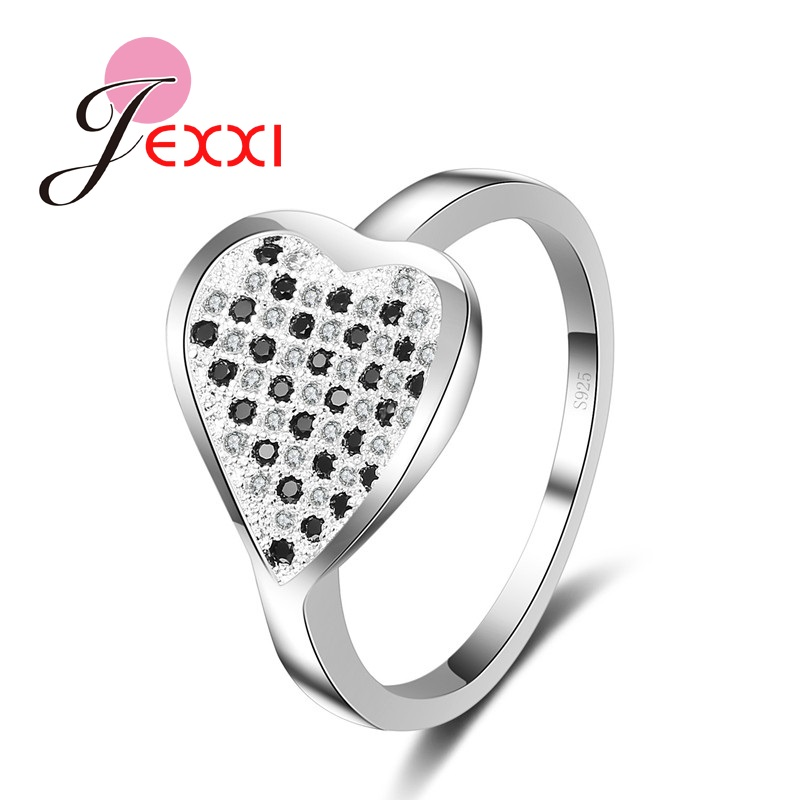 JEXXI Romantic New Year Gift Christmas Loving Heart Woman Rings Micro Zircon Inlay Fashion 925 Silver Lady Finger Jewelry