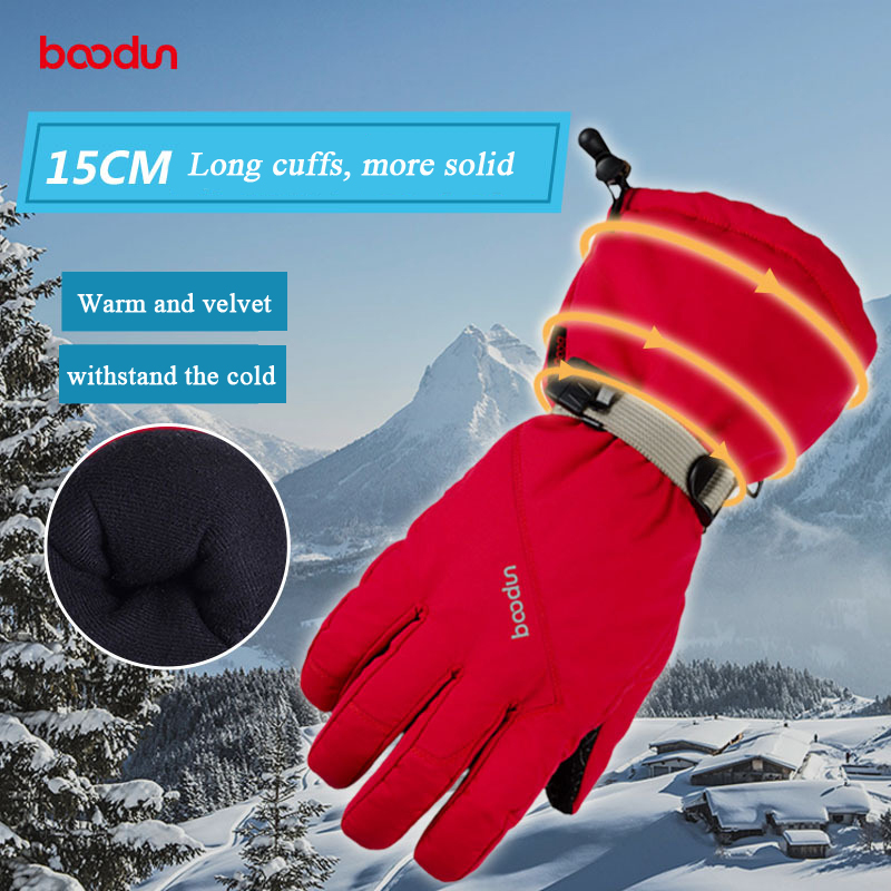 Boodun Winter Warm Cycling Gloves Men Women Outdoor Sports Non Slip Gloves Snowboard Snowmobile Skiing Riding Waterproof Glove